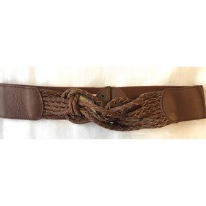 Brown Leather Braided Chunky Belt